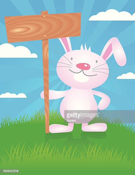 rabbit with wooden sign - easter egg hunt stock illustrations, clip art, cartoons, & icons