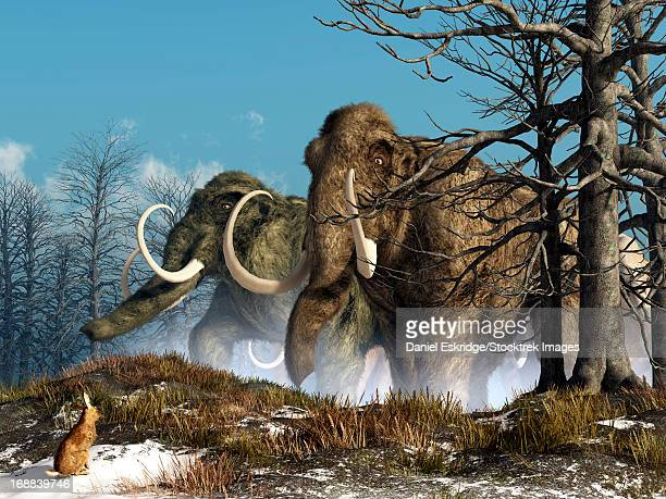 A rabbit witnesses a herd of mammoths in a snowy forest.