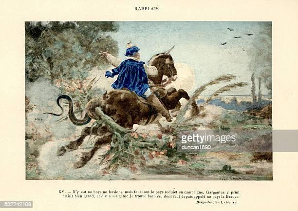 rabelais-wie gargantua wurde gesendet an paris - renaissance stock-grafiken, -clipart, -cartoons und -symbole