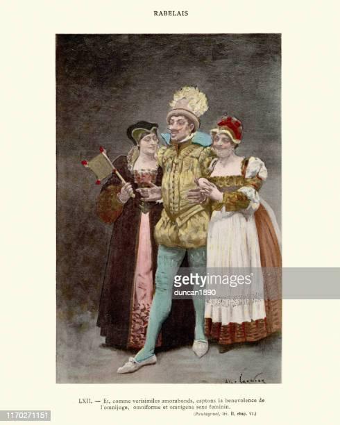 ラベライスのガルガンチュアとパンタグルエル、女性のセックスの慈悲 - 16世紀のスタイル点のイラスト素材/クリップアート素材/マンガ素材/アイコン素材