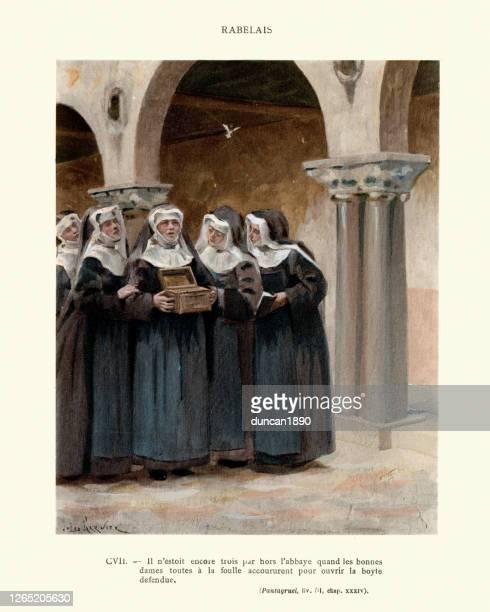 ラベレーのパンタグルエル、禁じられた箱を開ける修道女 - 16世紀点のイラスト素材/クリップアート素材/マンガ素材/アイコン素材