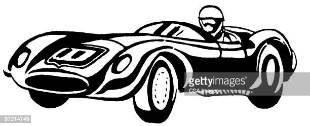 race car with driver - rapid stock illustrations