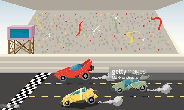 ilustraciones, imágenes clip art, dibujos animados e iconos de stock de race el acabado - gradas