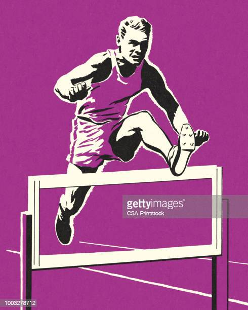 racer jumping over a hurdle - hurdle stock illustrations