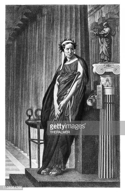 rachel as the muse of greek tragedy engraving 1894 - actress stock illustrations