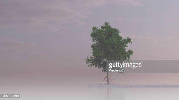 racing cycle leaning against maple tree, 3d rendering - fog stock illustrations