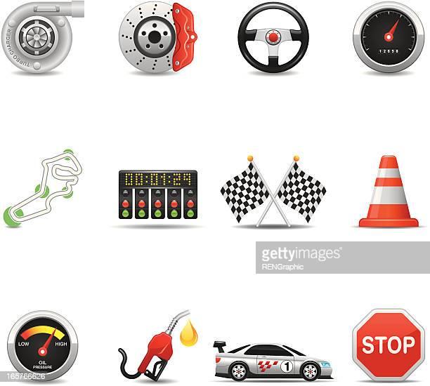 Racing Equipment & Car Parts Icon Set | Elegant Series