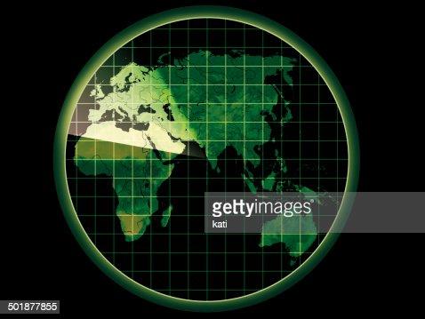 Map Of Australia Radar.Radar With A Map Of Europe Africa Asia Australia Stock Illustration