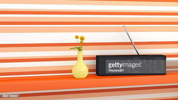 radio and flower vase on shelf, 3d rendering - eccentric stock illustrations