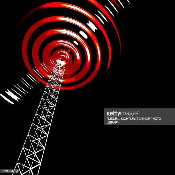 radio communications tower - antenna aerial stock illustrations, clip art, cartoons, & icons