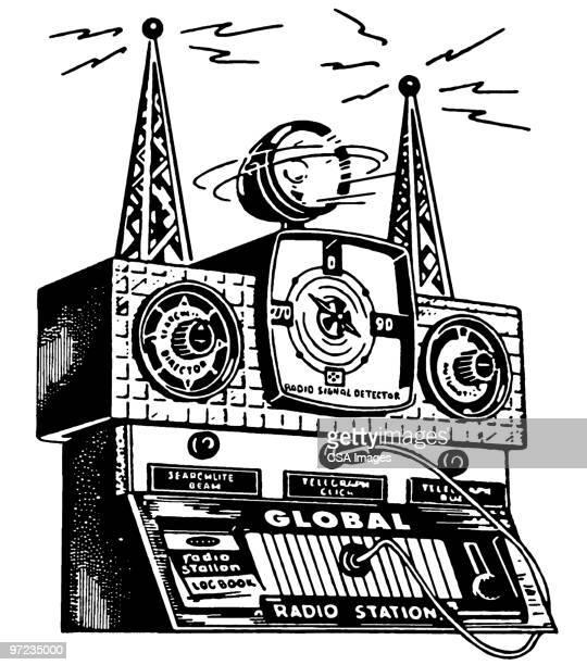 radio equipment - antenna aerial stock illustrations, clip art, cartoons, & icons