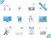 Radio signals, set of vector illustrations