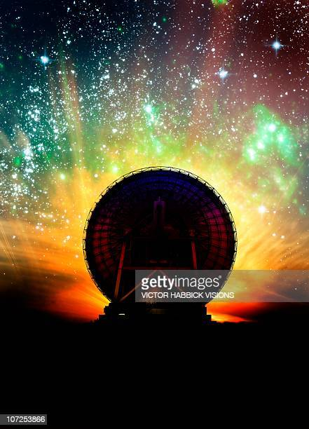 Radio telescope and night sky, artwork