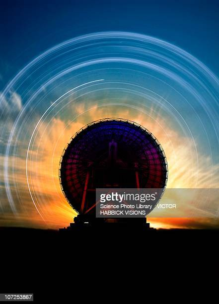 Radio telescope and star trails, artwork