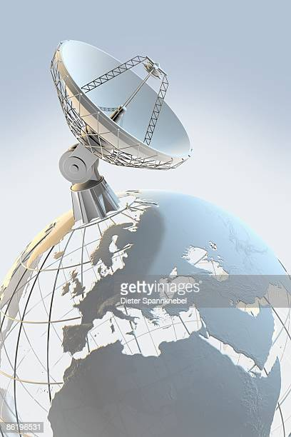 Radio telescope on top of a globe