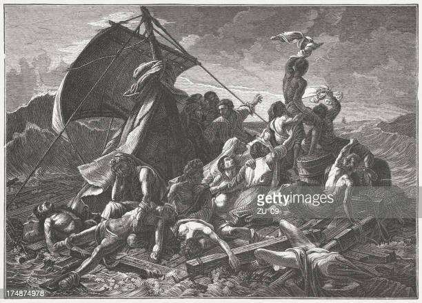 raft of the medusa, by théodore géricault, published in 1882 - medusa stock illustrations