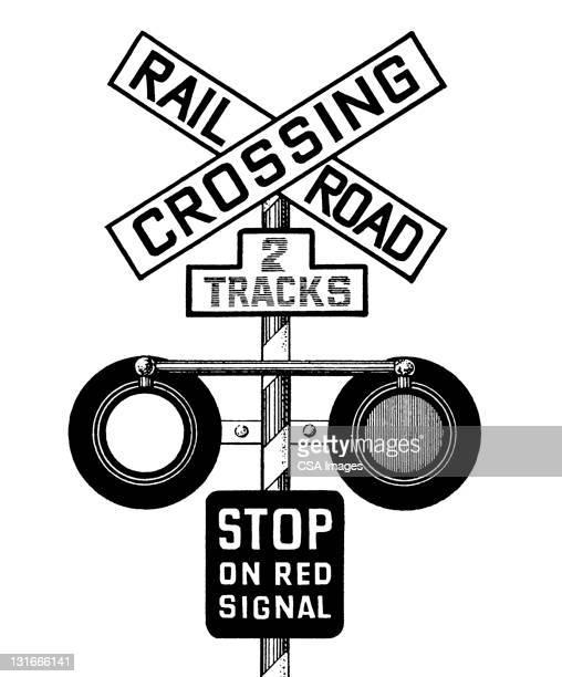 railroad crossing - traffic stock illustrations