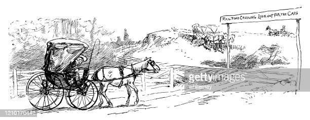 eisenbahnübergang im ländlichen amerika des 19. jahrhunderts - pferdeantrieb stock-grafiken, -clipart, -cartoons und -symbole