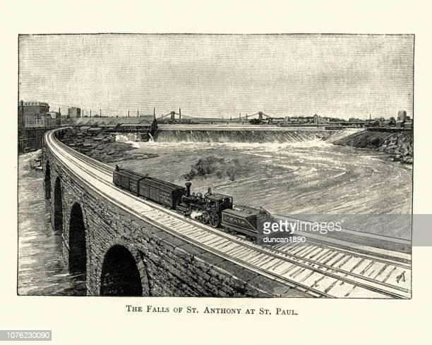 railway bridge and train crossing falls of st anthony, minneapolis - rail freight stock illustrations, clip art, cartoons, & icons