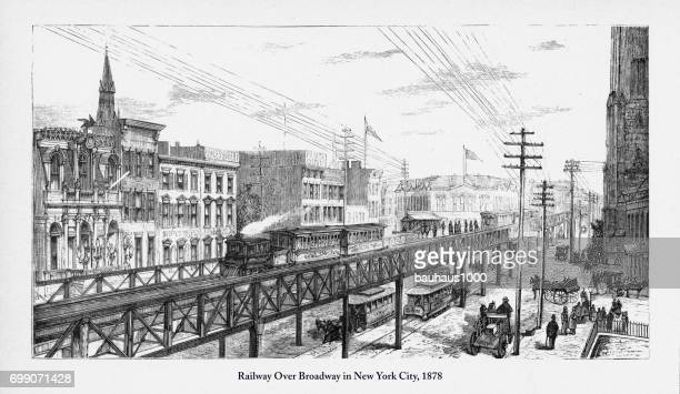 railway over broadway in new york city victorian engraving, 1878 - horsedrawn stock illustrations, clip art, cartoons, & icons
