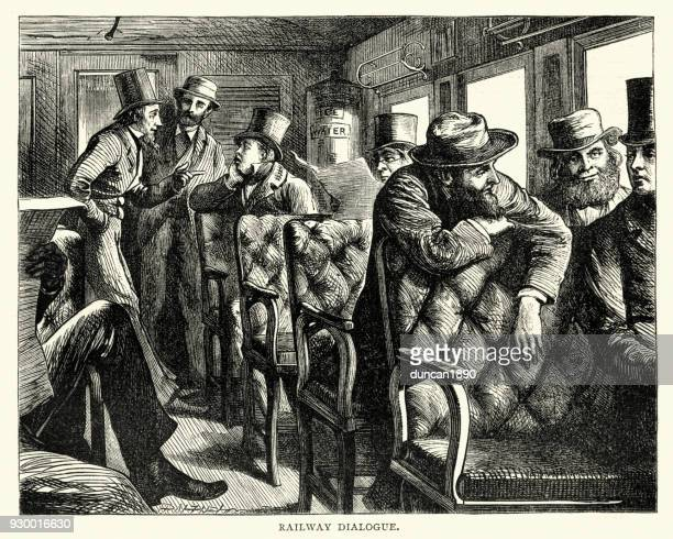 Railway passengers talking to each other, USA, 19th Century