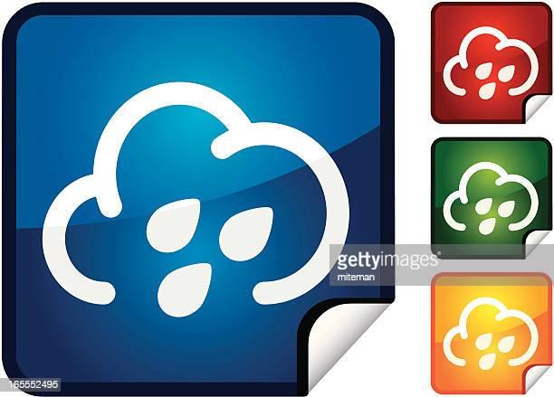 rain cloud | sticker collection - hailstone stock illustrations, clip art, cartoons, & icons