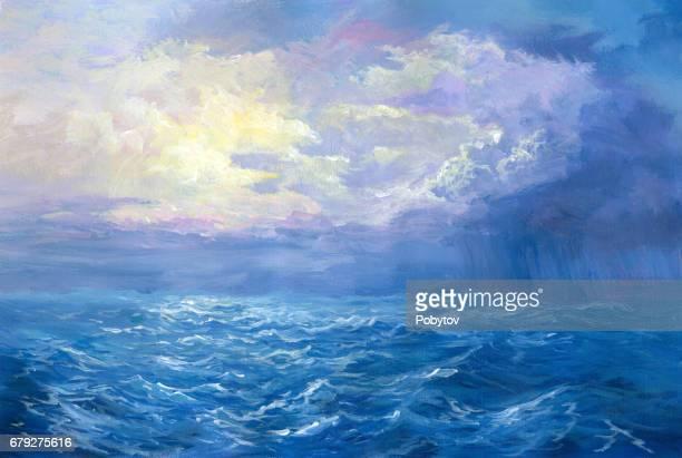 rain on sea, oil painting