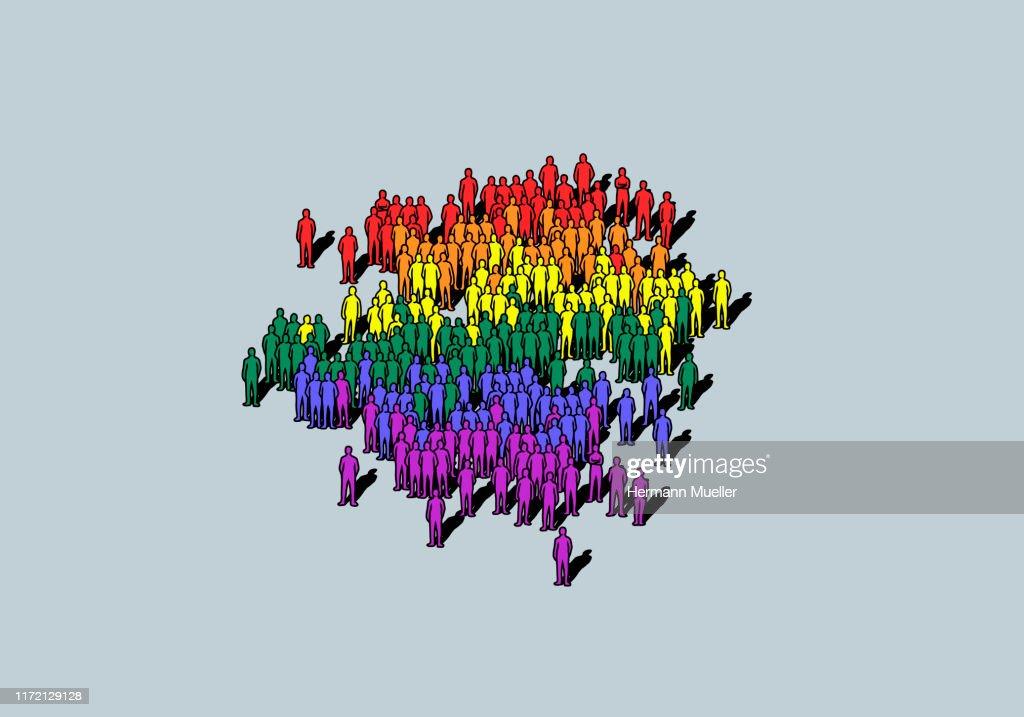 Rainbow colored crowd : ストックイラストレーション