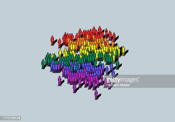 rainbow colored crowd - large group of people stock illustrations