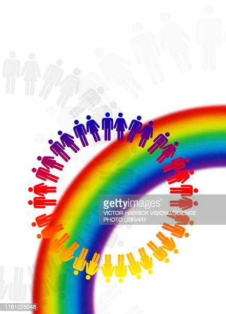 lgbt rainbow, conceptual illustration - bisexuality stock illustrations, clip art, cartoons, & icons