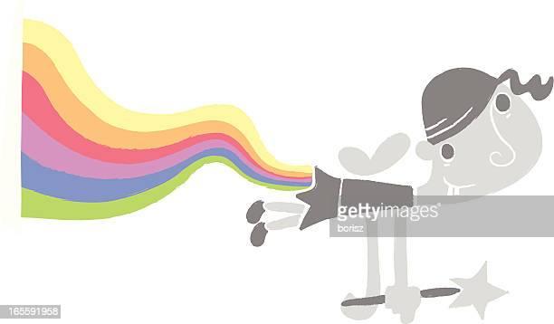 ilustraciones, imágenes clip art, dibujos animados e iconos de stock de rainbow de hadas - pedo