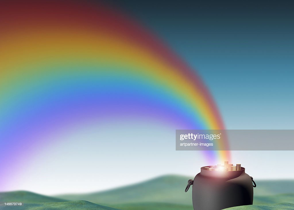 Rainbow leading to a pot of gold coins : Ilustración de stock