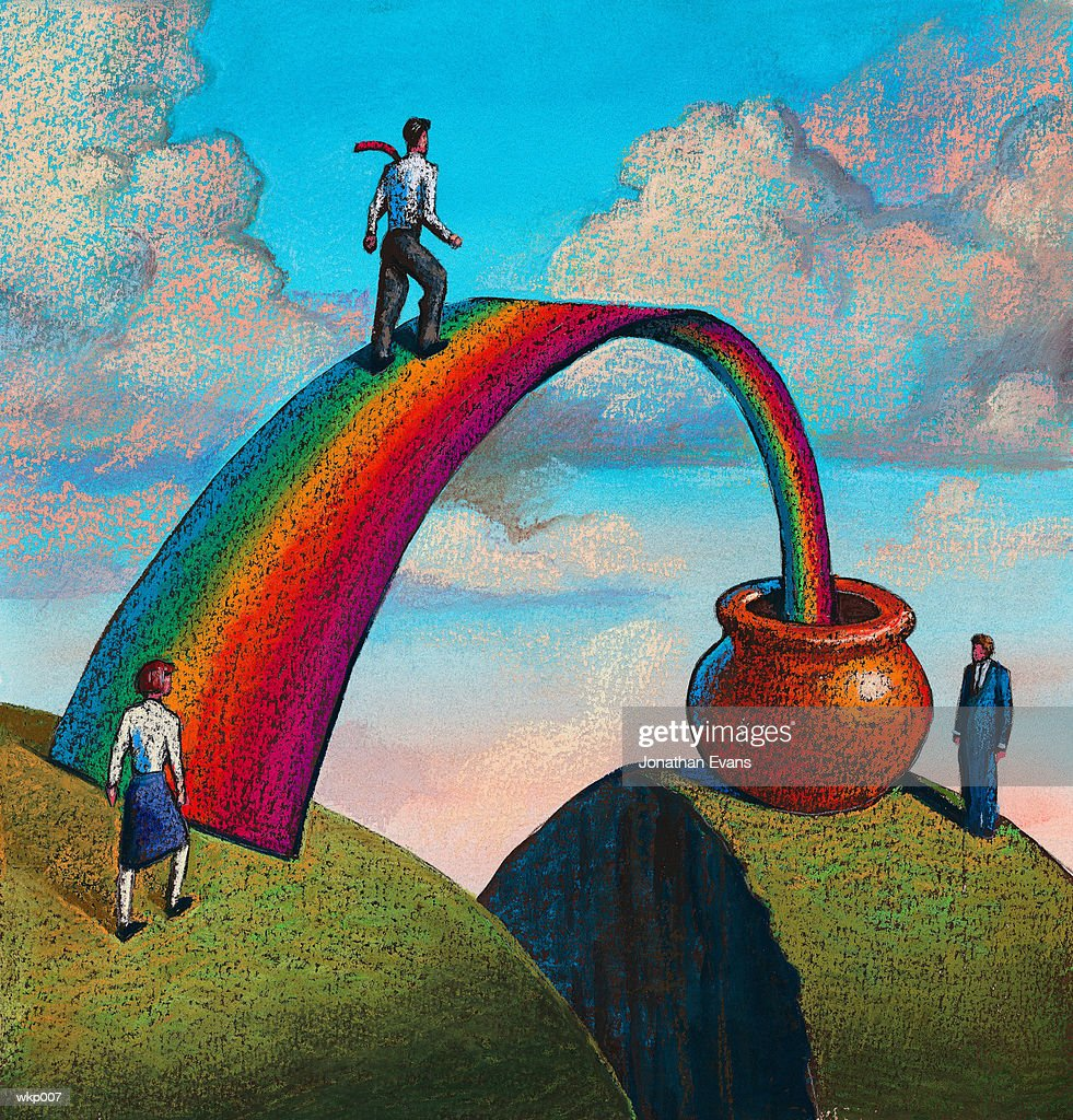 Rainbow & Pot of Gold : Stock Illustration