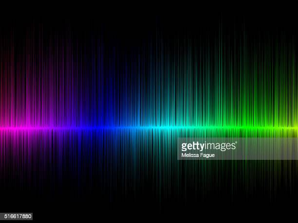 Rainbow Radio Waves: Illustration of Gradiant Multi Colored Frequency Lines on Black