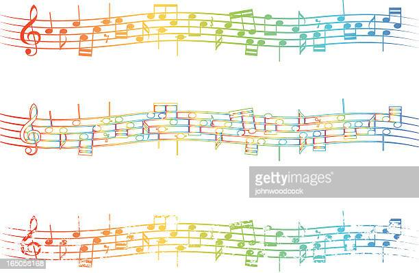 rainbow stave - jazz stock illustrations, clip art, cartoons, & icons