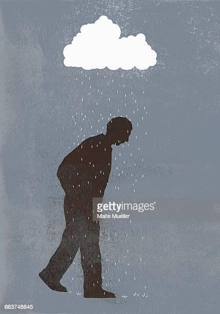 rainfall over sad man against gray background - rain stock illustrations
