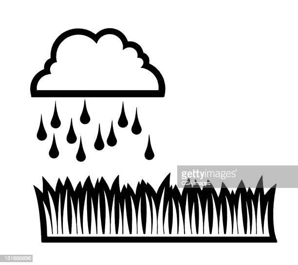 raining on grass - rain stock illustrations