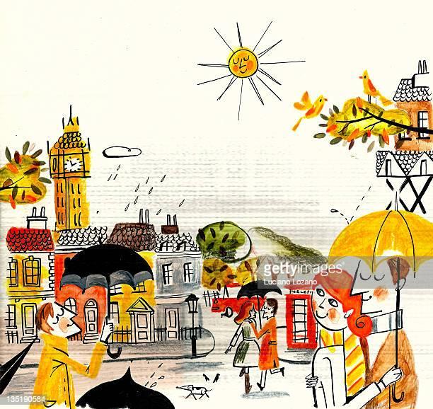 rainy day - road stock illustrations
