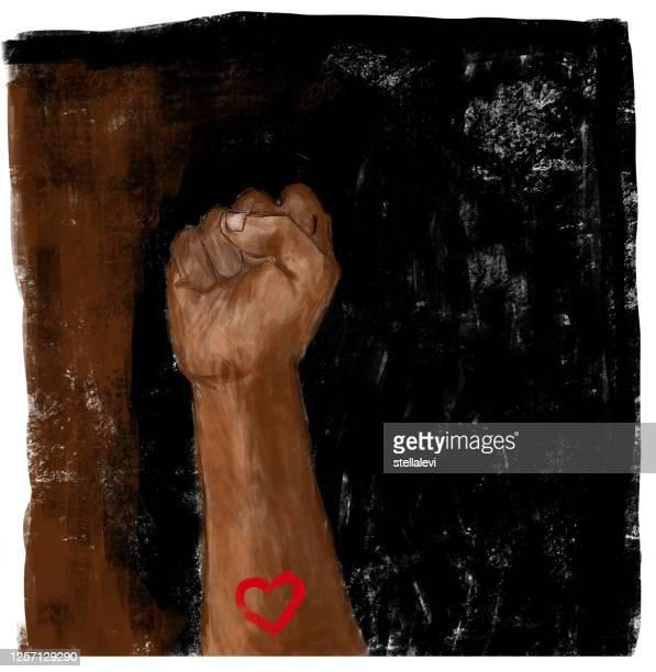 illustrazioni stock, clip art, cartoni animati e icone di tendenza di raised fist with heart. social justice, protest, demonstration, on black and brown background. - giustizia sociale