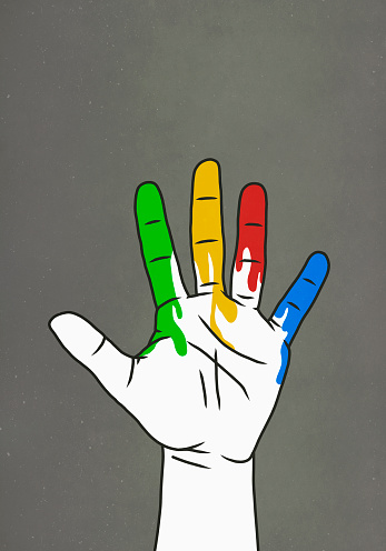 Raised hand dripping rainbow paint - gettyimageskorea
