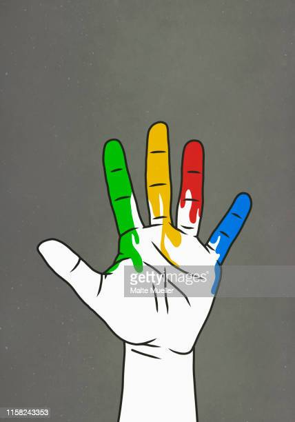 raised hand dripping rainbow paint - ゲイ点のイラスト素材/クリップアート素材/マンガ素材/アイコン素材