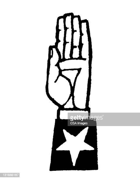 stockillustraties, clipart, cartoons en iconen met raised hand with star on cuff - eed