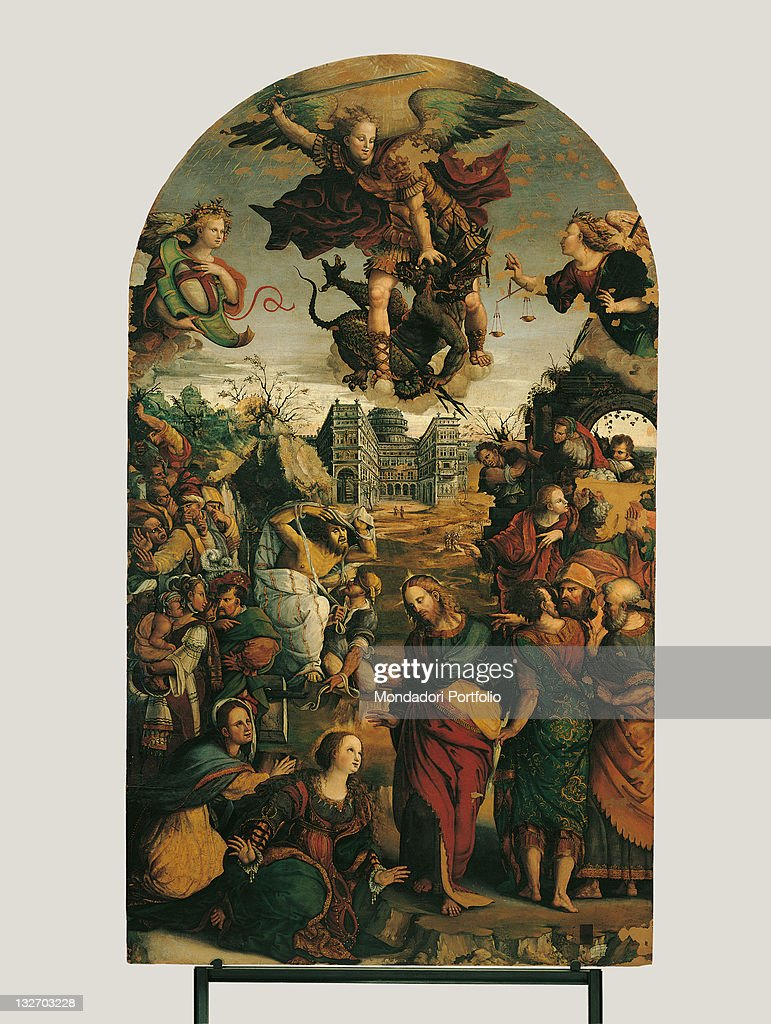Raising of Lazarus and Fight between St Michael and the Devil, by Pompeo Morganti, 16th Century. : Fine art