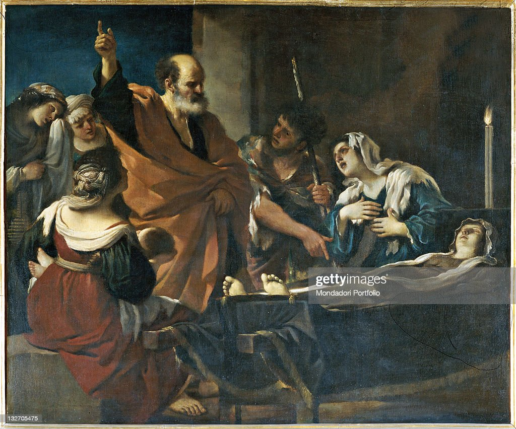 Raising of Tabitha, by Barbieri Giovan Francesco known as il Guercino, 17th Century, oil on canvas. : Fine art