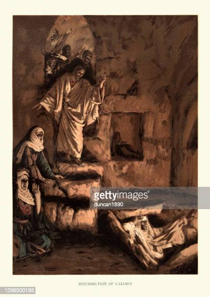 raising or resurrection of lazarus, new testament art - jesus tomb stock illustrations