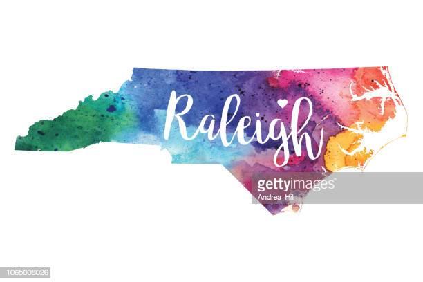 Raleigh, North Carolina Watercolor Raster Map Illustration