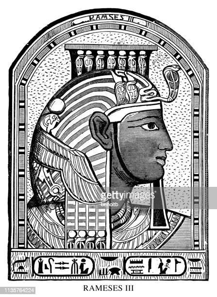 rameses iii - tomb of ramses iii stock illustrations