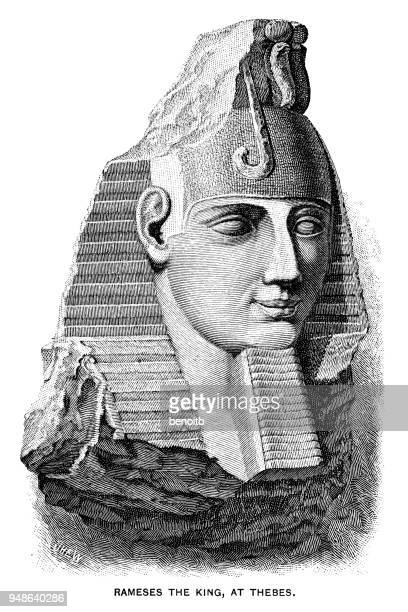 rameses the king - thebes egypt stock illustrations