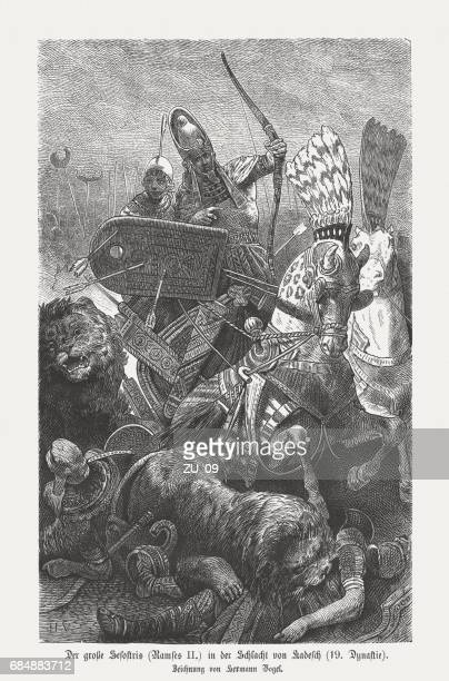 ramesses ii, battle of kadesh in 1274 bc, published 1880 - north african ethnicity stock illustrations, clip art, cartoons, & icons