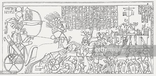 ramesses ii storming the hittite fortress of dapur (1269 bc) - thebes egypt stock illustrations